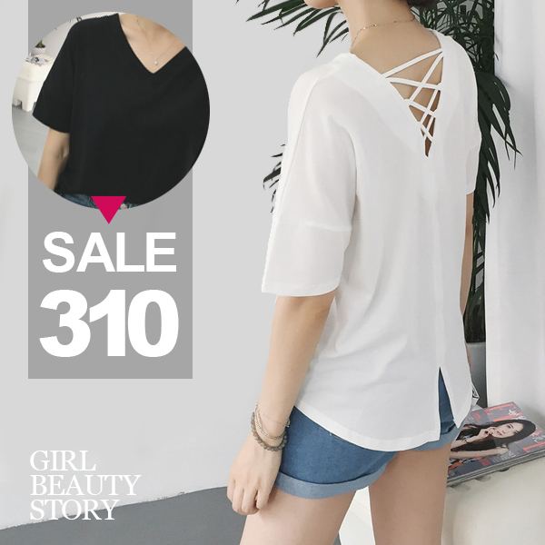 SISI【T6092】韓版寬鬆百搭露背鏤空交叉綁帶純色短袖棉質T恤上衣