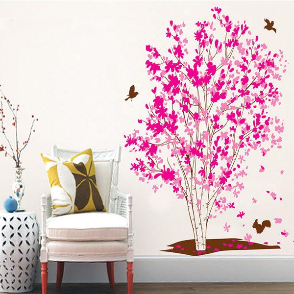 BO雜貨【YV4498】創意可移動壁貼 牆貼 壁貼 背景貼 磁磚貼 時尚組合壁貼 居家裝潢裝飾 夢幻樹貼紙