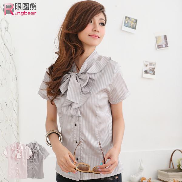 襯衫--OL專業優雅直紋緞面荷葉邊襯衫上衣(粉S-XL)-H101眼圈熊中大尺碼