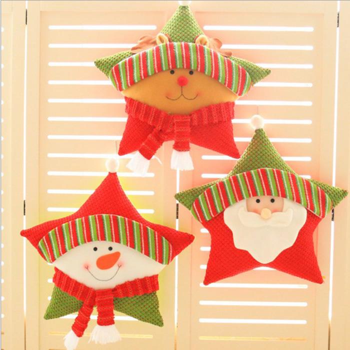 tangyizi輕鬆購【DS142】聖誕節超萌五角星抱枕靠枕坐墊裝飾品聖誕節交換禮物