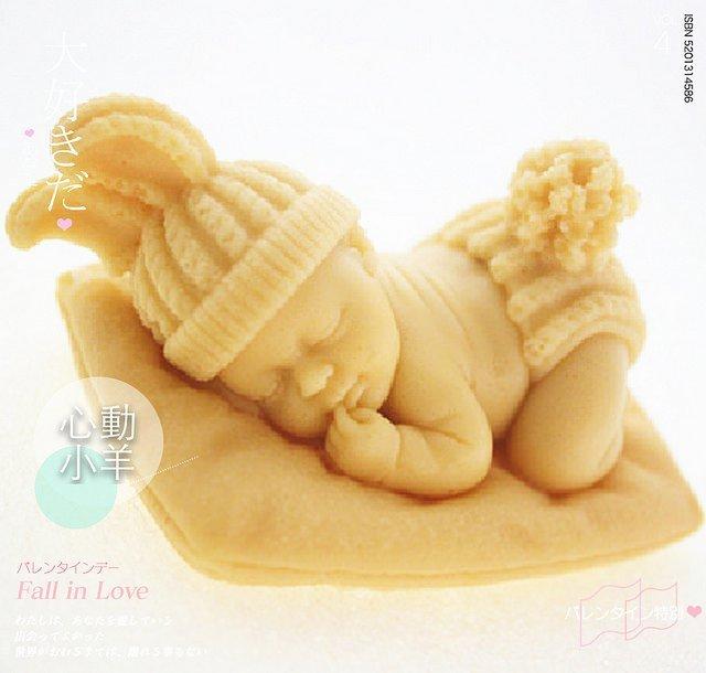 心動小羊^^DIY手工皂工具矽膠模具肥皂香皂模型矽膠皂模藝術皂模具兔耳朵毛線嬰兒熟睡皂模小天使(超立體單孔)