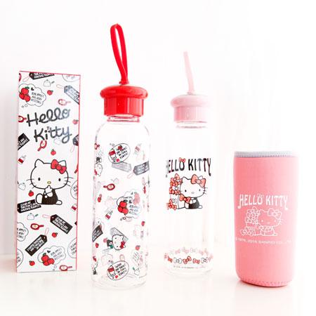 正版 Hello Kitty耐熱玻璃水瓶 500ml 附保溫潛水布套 凱蒂貓 KT 水壺 隨手杯 隨身杯 三麗鷗【N100905】