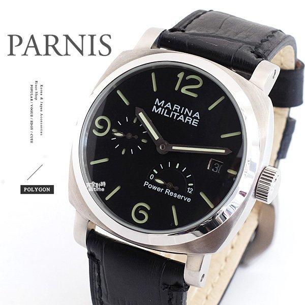 【完全計時】手錶館│PARNIS 瑞典軍錶風格 弧形質感自動上鍊機械錶 PA3015 現貨 限定版 45mm L