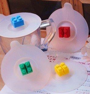 =優生活=生活創意雜貨 樂高積木杯蓋 軟矽膠防漏杯蓋矽膠杯蓋可插湯勺 lego杯蓋