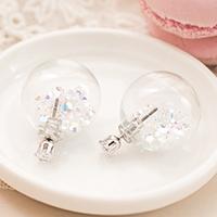 夢幻泡泡玻璃球彩鑽耳環【e1506002】