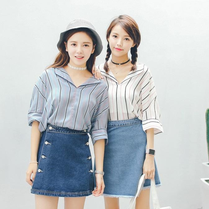 PS Mall 秋季新款可愛休閒條紋雪紡V領七分袖襯衫【T1993】
