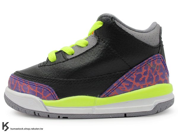 [24%OFF] 海外入荷 台灣未發售 2013 NIKE JORDAN 3 III RETRO TD BT JOKER 幼童鞋 BABY 鞋 黑紫橘 螢光黃 爆裂紋 AJ 三代 AIR (832033-039) !