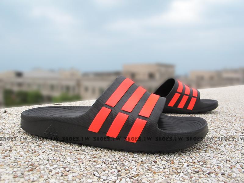 Shoestw【Q21636 】ADIDAS DURAMO SLIDE 拖鞋 一體成型 黑橘 男女都有