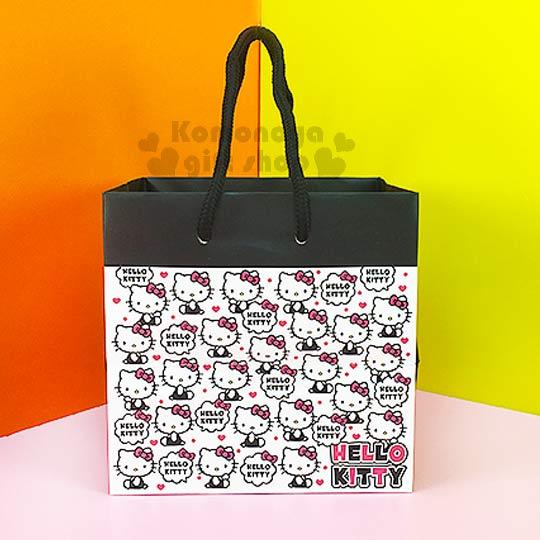 〔小禮堂〕Hello Kitty 寬底提袋《小.白.側坐.咬手指.滿版》送禮包裝最方便