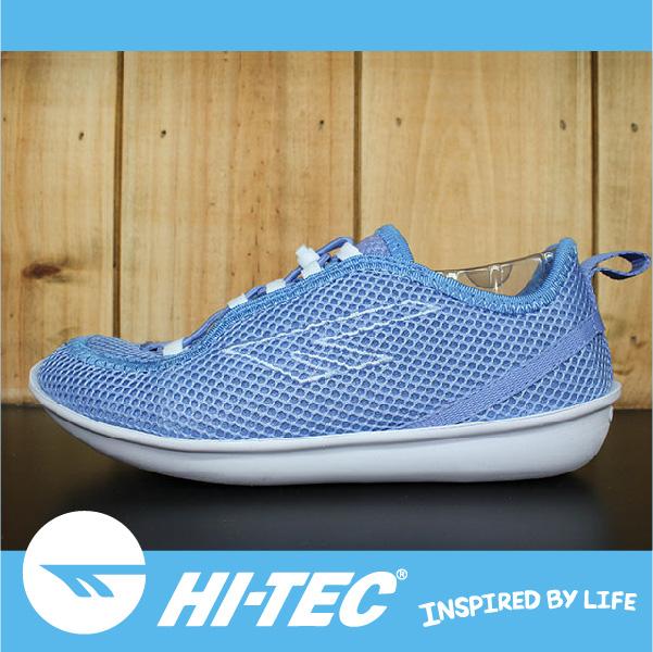萬特戶外運動 HI-TEC ZUUK 女絲瓜鞋 極輕樂步 旅行必備便鞋 免綁鞋帶 女款 粉藍