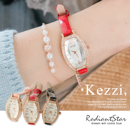 香港KEZZI哲思漫想酒桶切面圓點印皮革手錶【WKZ876】璀璨之星☆