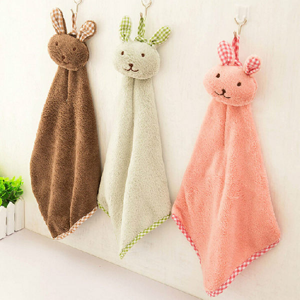 PS Mall 日韓可愛兔子造型珊瑚絨 蝴蝶結 廚房浴室掛式擦手巾【J400】