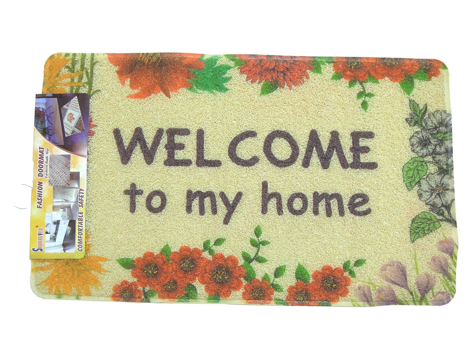 La maison生活小舖《PVC刮泥門墊地墊》滿滿花朵歡迎美觀圖案 獨特纖維表面 耐用防滑 地墊/軟墊/腳踏墊/止滑墊/刮泥墊