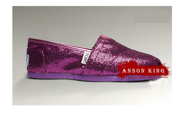 [女款] 國外代購TOMS 帆布鞋/懶人鞋/休閒鞋/至尊鞋 亮片系列  紫色