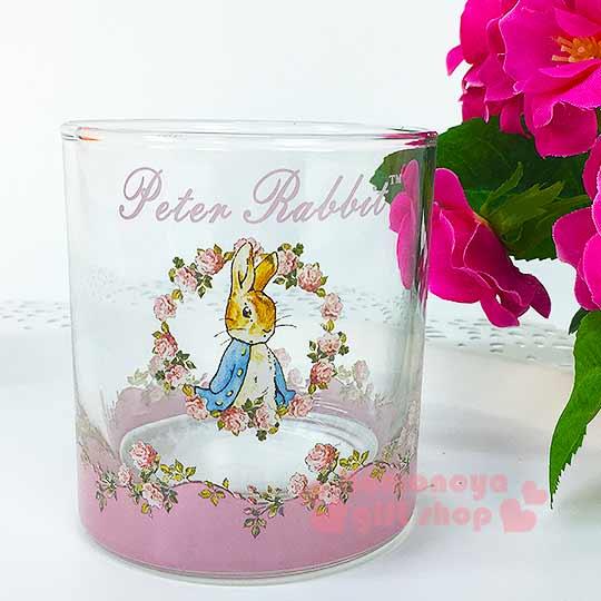 〔小禮堂〕彼得兔 玻璃威士忌杯《小.透明.粉.玫瑰花圈.245ml》