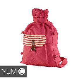 【風雅小舖】【美國Y.U.M.C. Melrose休閒系列Veshmeshok Rucksack帆布束口袋後背包 桃紅】電腦包/雙肩包
