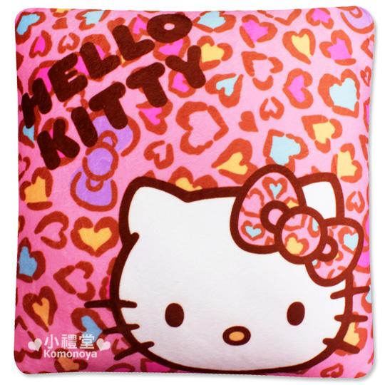 〔小禮堂〕Hello Kitty 方型抱枕《大.粉.豹紋.大臉》可抱可靠