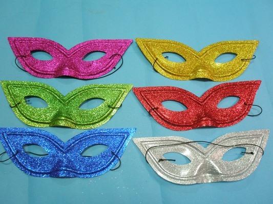 金蔥眼罩面具 彩色眼罩 金粉面具 半罩面具/一包12個入{定20}