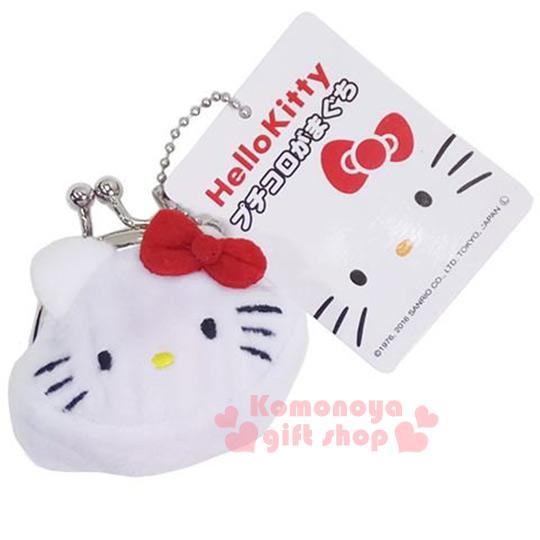 〔小禮堂〕Hello Kitty 迷你絨毛口金零錢包《SS.白.大臉.附珠鍊》