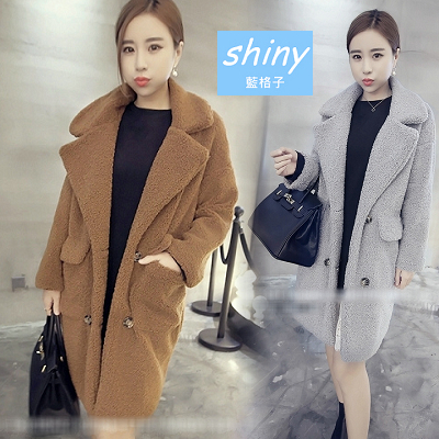 【V6530】shiny藍格子-美冬時尚.羊羔毛雙排扣口袋加厚中長款大衣外套