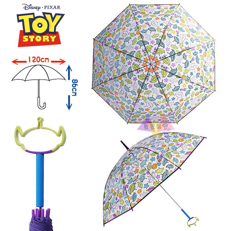 叉叉日貨 迪士尼玩具總動員三眼怪滿版透明底綠色大頭輪廓手把雨傘86公分 日本正版【Di95752】特價(大體積)