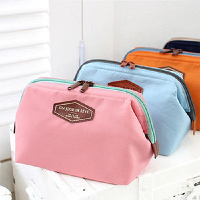 【酷創意】韓流新款 多功能時尚棉布化妝包 便攜可愛棉布洗漱包 鋼架化妝包(E47)