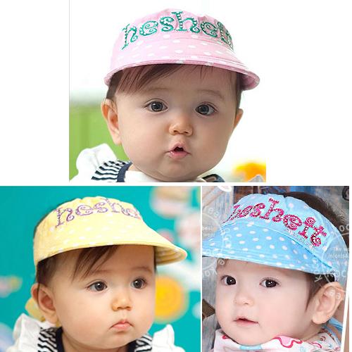 Kocotree◆可愛點點質感字母刺繡舒棉兒童帽防曬帽空頂帽