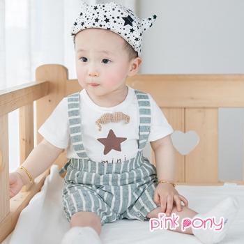 【Pink Pony】星星條紋吊帶褲套裝_白+綠白條紋