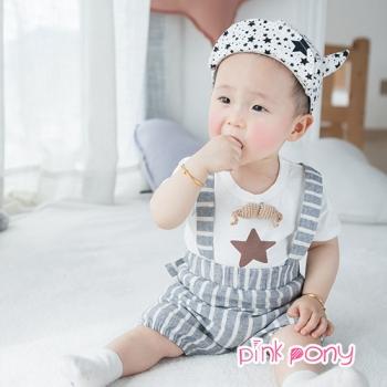 【Pink Pony】星星條紋吊帶褲套裝_白+灰白條紋
