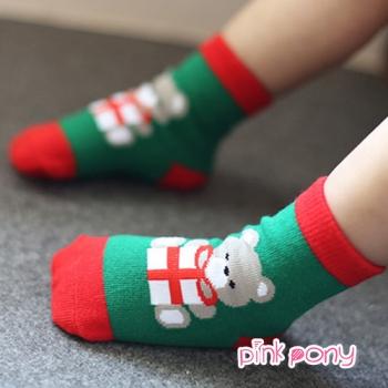 【Pink Pony】棉質聖誕造型短襪 顏色隨機