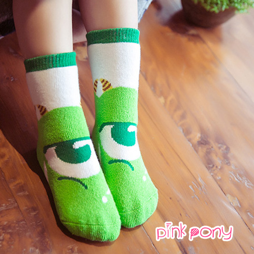 【Pink Pony】棉質可愛大眼怪造型襪 顏色隨機