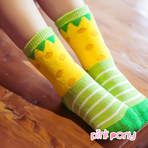 【Pink Pony】棉質幾何圖形中筒襪 顏色隨機