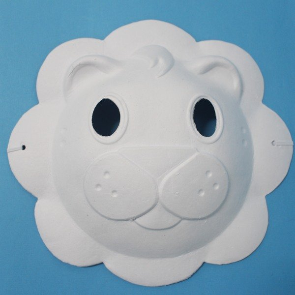獅子面具 空白動物面具 DIY面具 彩繪面具 空白面具 空白眼罩 紙面具 紙漿面具(附鬆緊帶)/一個入{定40}~725348