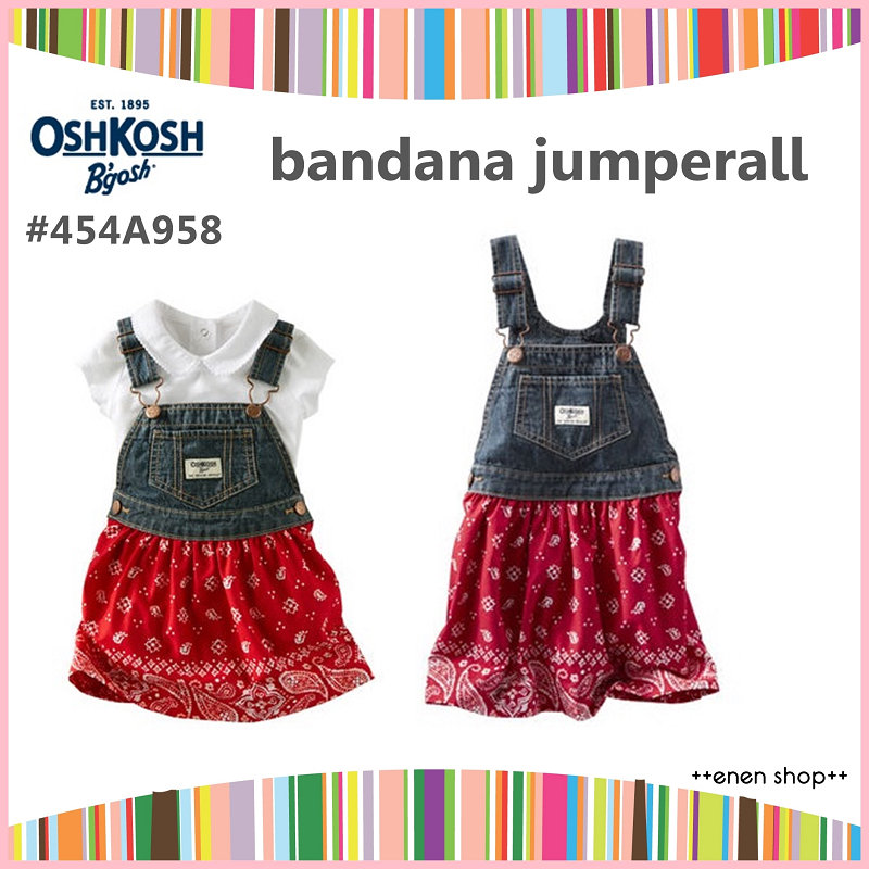 ++enen shop++ OshKosh B'gosh 民族風牛仔吊帶裙 ∥ 18M/24M/3T