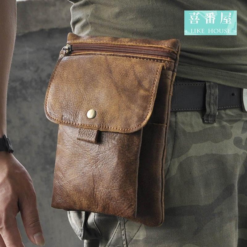 【喜番屋】真皮頭層牛皮男士可裝8吋手機腰掛皮夾皮包手機包手機套卡片包卡片夾男夾男包腰包LB97