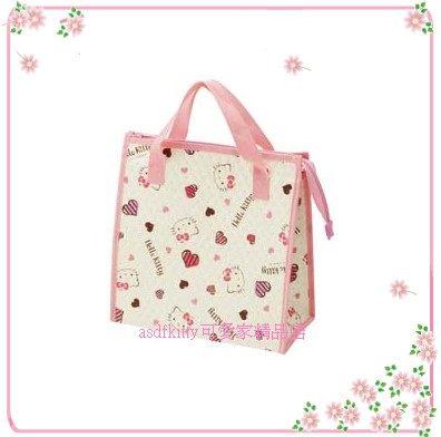 asdfkitty可愛家☆KITTY愛心版輕量保溫便當袋/手提袋/購物袋-也可保冷-日本正版商品