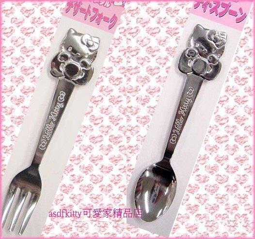 廚房 【asdfkitty可愛家】KITTY蝴蝶結不鏽鋼湯匙+叉子-可當咖啡匙/蛋糕叉-日本製