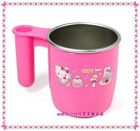 廚房【asdfkitty可愛家】KITTY甜點304不鏽鋼杯-含牙刷架(湯匙架)-馬克杯/漱口杯韓國製