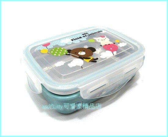 廚房【asdfkitty】摩卡熊玫瑰豬防燙不鏽鋼方形便當盒-樂扣型-保鮮盒-韓國製