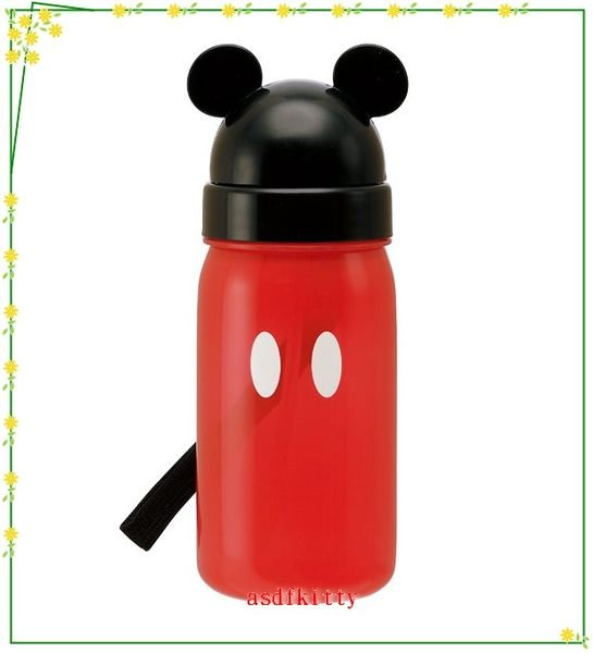 asdfkitty可愛家☆米奇紅色臉型吸管水壺350ML-也可以當學習杯歐-日本正版商品