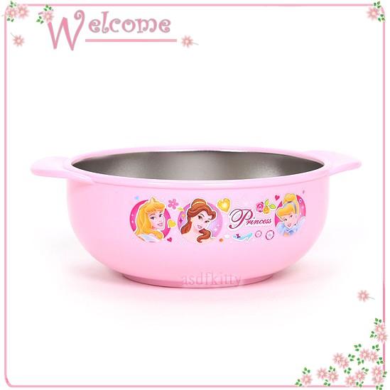 asdfkitty可愛家☆迪士尼公主雙耳防燙304不鏽鋼碗-L號/學習碗-韓國製