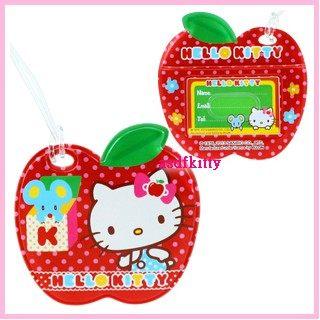 個人用品【asdfkitty】KITTY蘋果點點姓名吊牌/ 行李吊牌/書包/補習袋都可用-香港版正版商品
