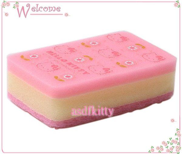 廚房 衛浴【asdfkitty】KITTY長方型雙面海綿菜瓜布-可洗鍋婉-也可放浴室洗臉盆-日本正版