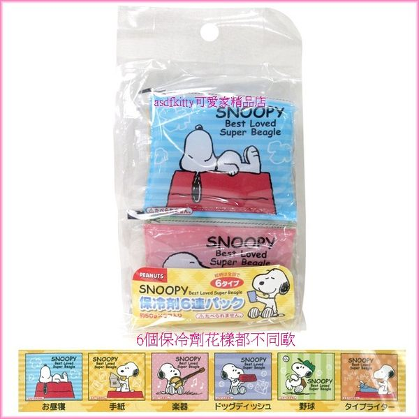asdfkitty可愛家☆史努比6連保冷劑/保冰劑-保鮮食物或牙痛-發燒降溫-冰敷 -日本製