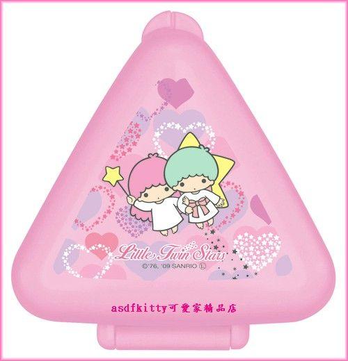 asdfkitty可愛家☆雙子星單個三角御飯糰模型攜帶便當盒-做包餡飯團-微波-日本製
