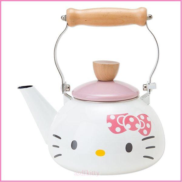 asdfkitty可愛家☆KITTY大臉琺瑯水壺/茶壺-可燒開水跟泡茶-電磁爐可用-日本正版商品