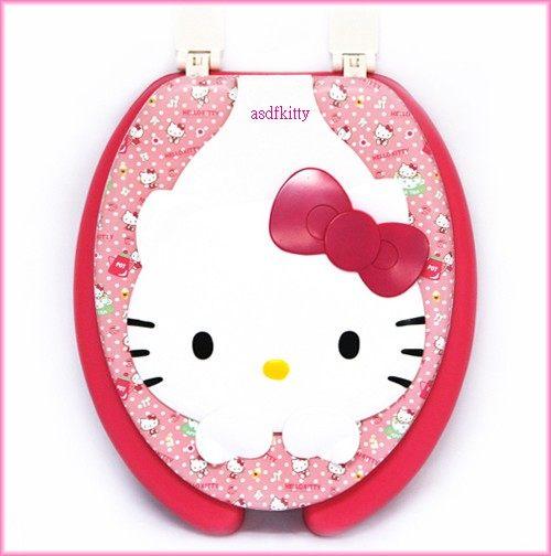 衛浴【asdfkitty】KITTY立體大臉母子型U型馬桶蓋-馬桶座/兒童輔助坐墊-大人兒童2用型-韓國製