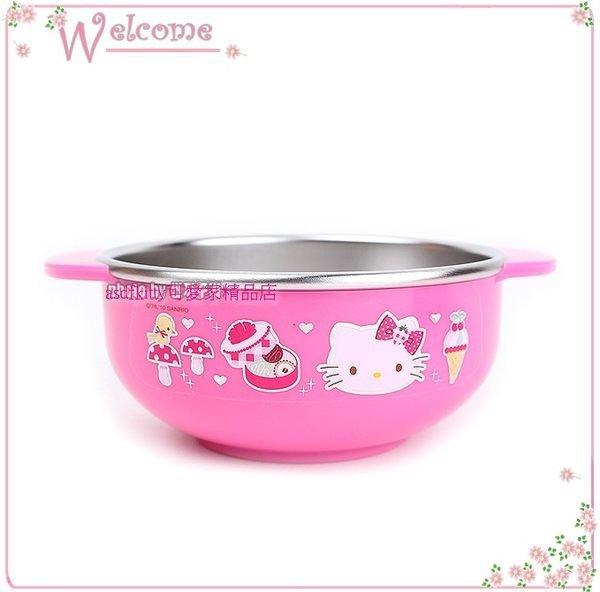 asdfkitty可愛家☆KITTY霧甜點雙耳防燙304不鏽鋼碗-M號/學習碗-韓國製