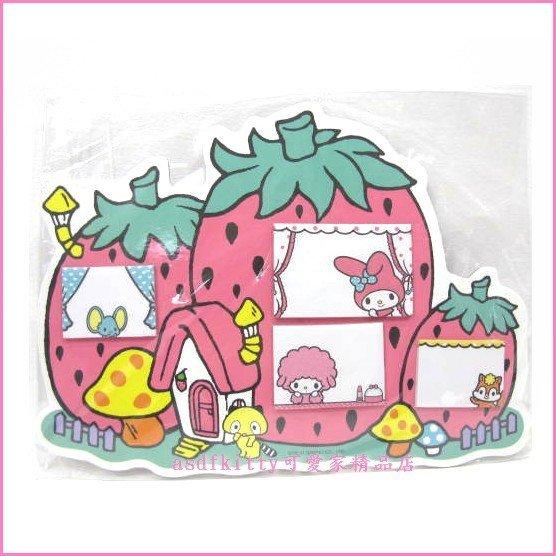 asdfkitty可愛家☆美樂蒂粉色草莓屋造型便條紙/便利貼/標籤貼-日本正版