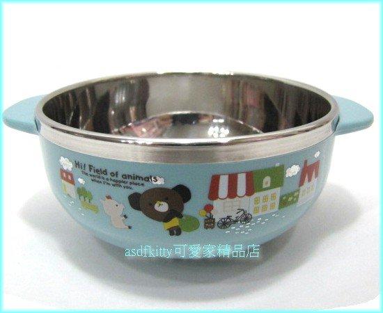 asdfkitty可愛家☆摩卡熊玫瑰豬雙耳防燙不鏽鋼碗-M號-學習碗-無毒環保-韓國製